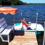Peddleboat and Dock Bench Seats with Umbrellas